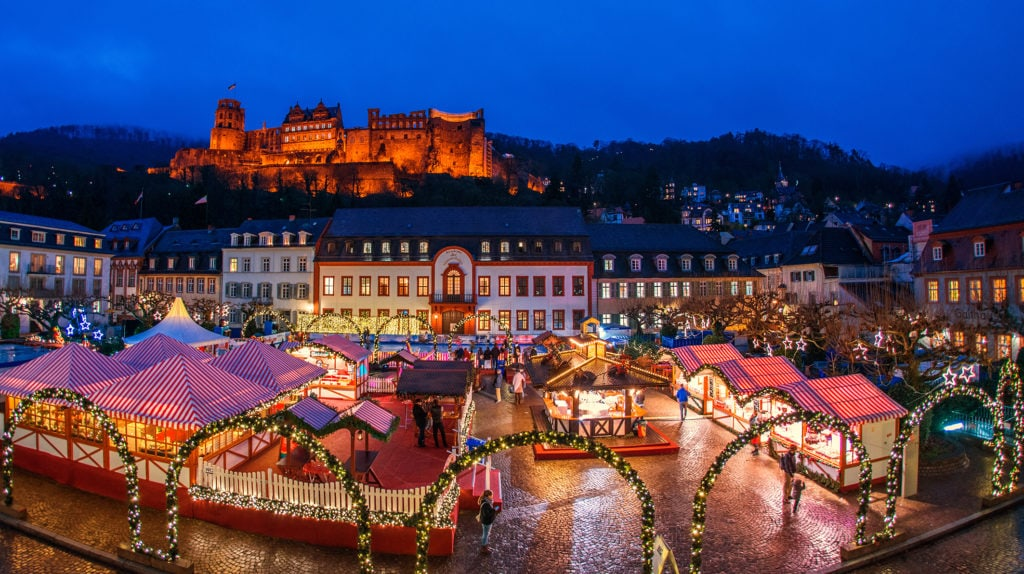 Karlsplatz Christmas Market in Heidelberg, Germany