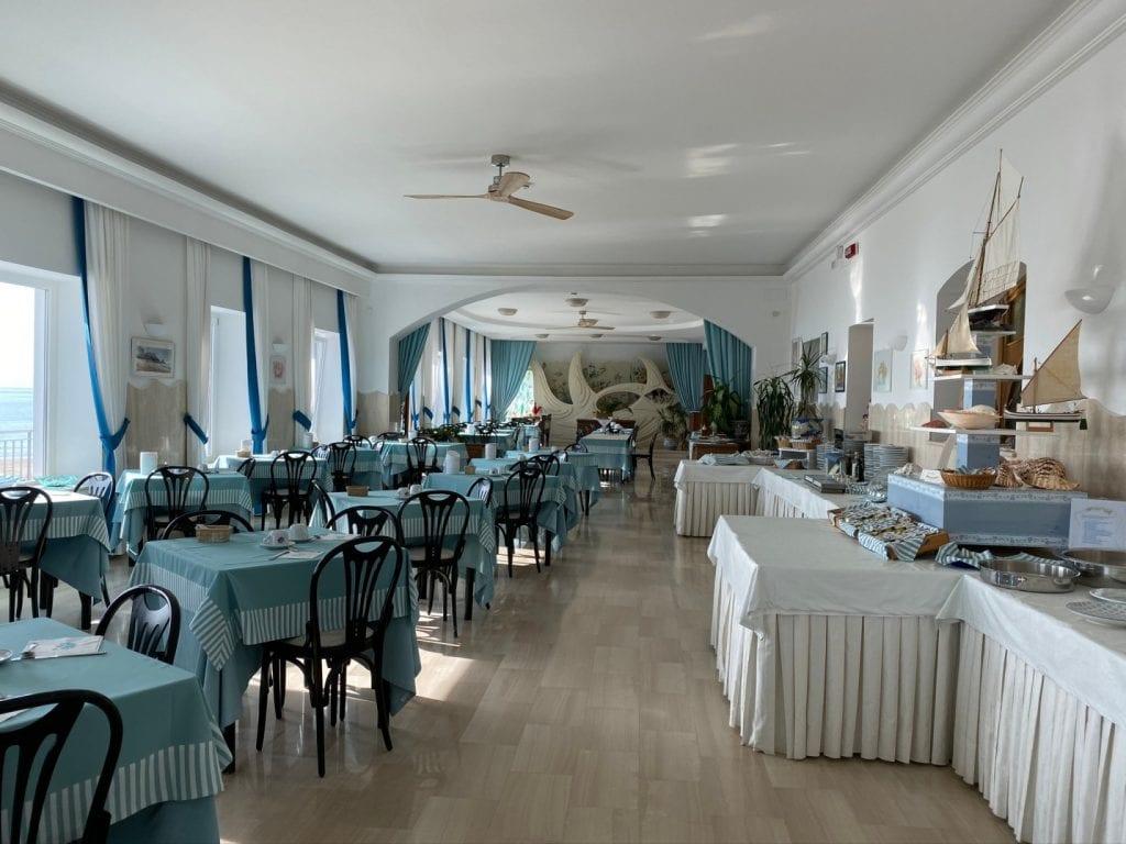 Marina dining room at Hotel Aurora, Sperlonga.