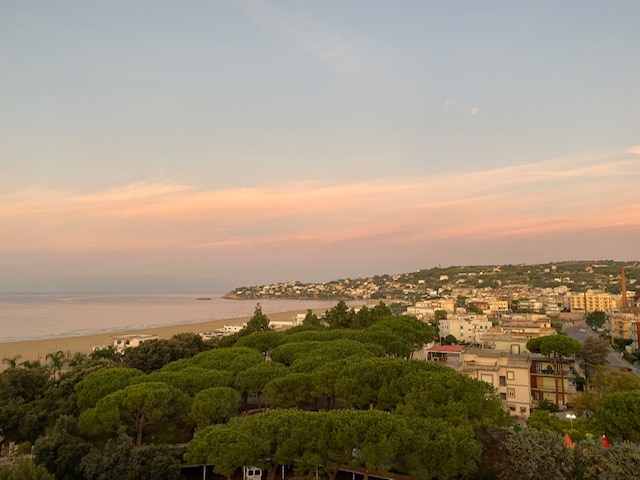 View of Gaeta and the sea at dusk from Hotel Mirasole