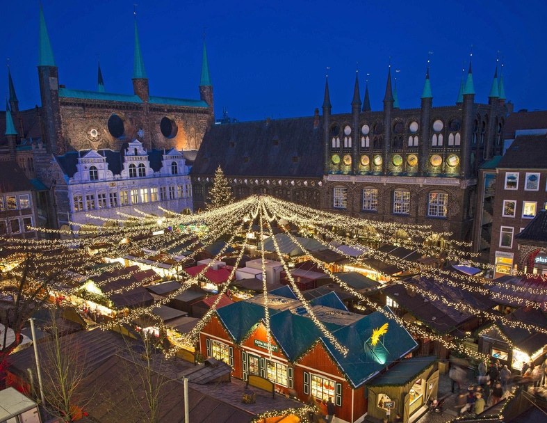 Christmas Market in Lübeck, Germany at the Historic City Hall.