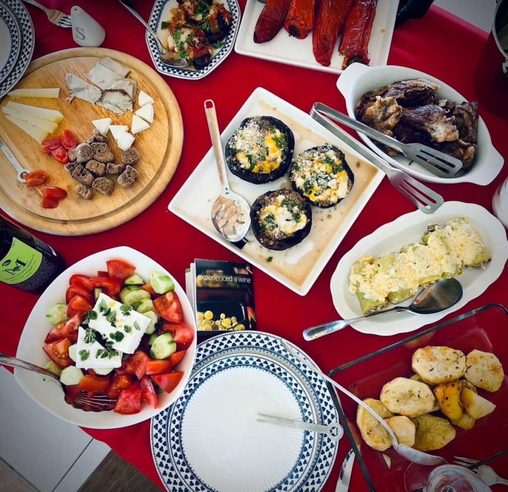 Typical lunch in Crete with different mezze